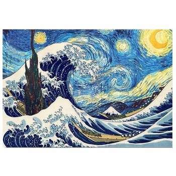 تابلو نقاشی طرح شب پر ستاره و موج کد 011