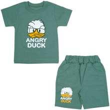 ست تیشرت و شلوارک پسرانه طرح اردک خشمگین کد 2
