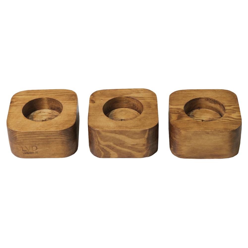 جاشمعی چوبی ال وی دی مدل 3T مجموعه 3 عددی