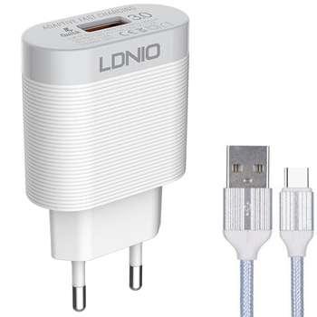 شارژر دیواری الدینیو مدل A303Q به همراه کابل تبدیل  USB-C