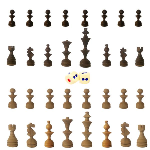 مهره شطرنج کد m4 مجموعه 32 عددی به همراه دو عدد تاس