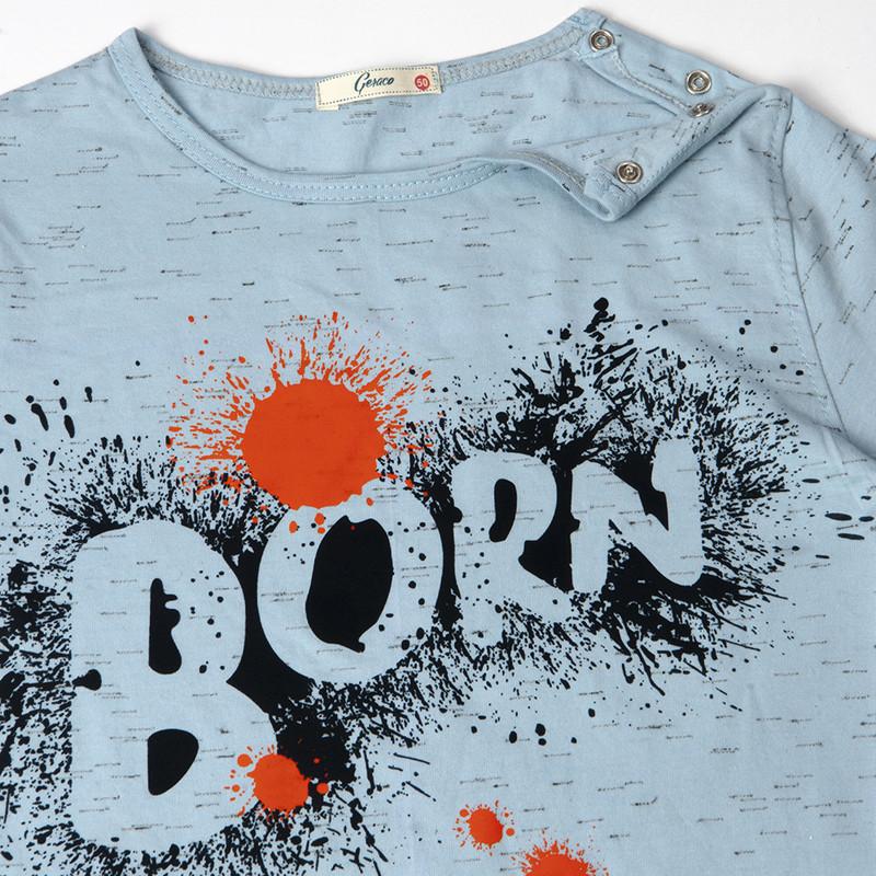 ست تیشرت و شلوارک پسرانه طرح BORN کد 202 رنگ آبی