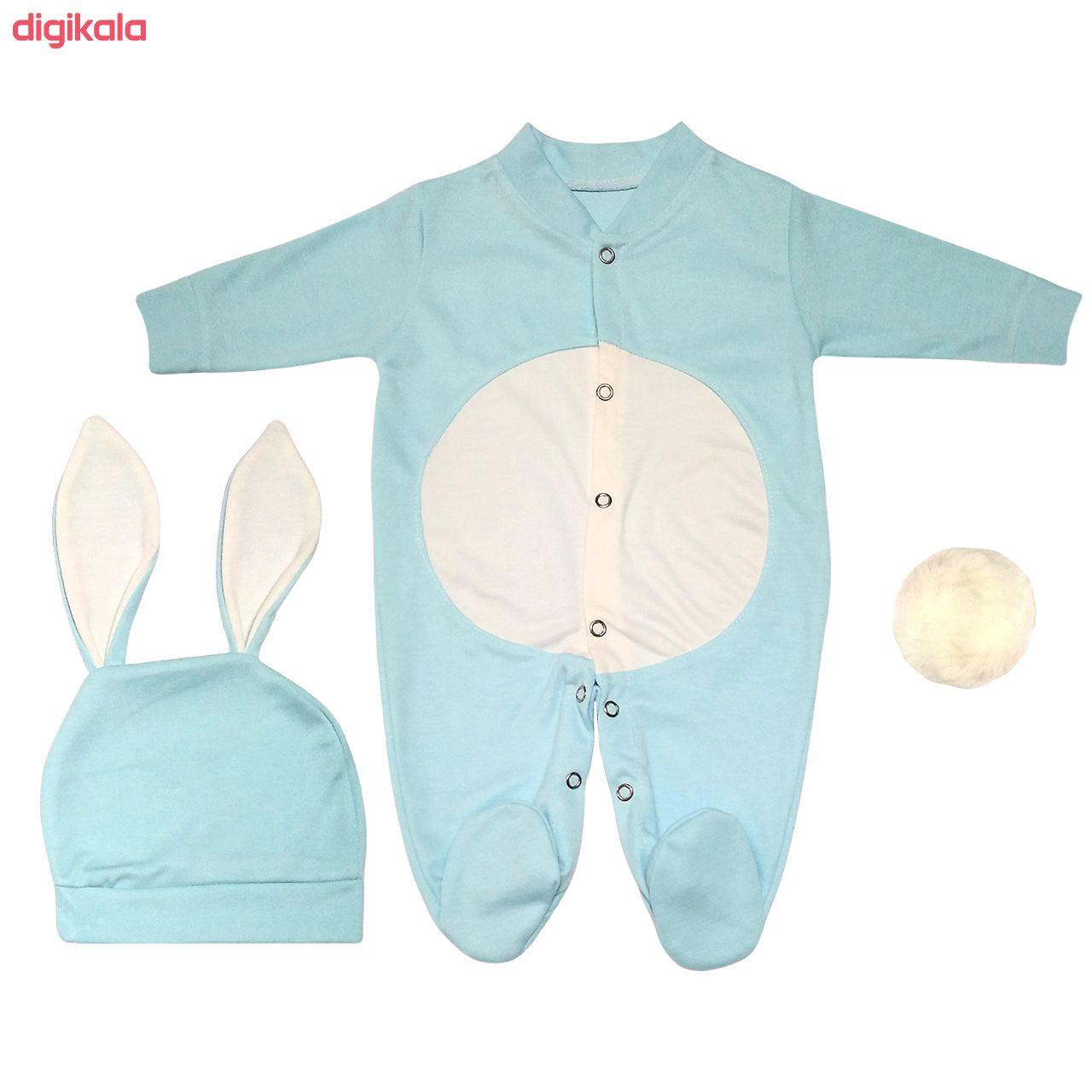 ست سرهمی و کلاه نوزادی پسرانه طرح خرگوش کد M210 main 1 1