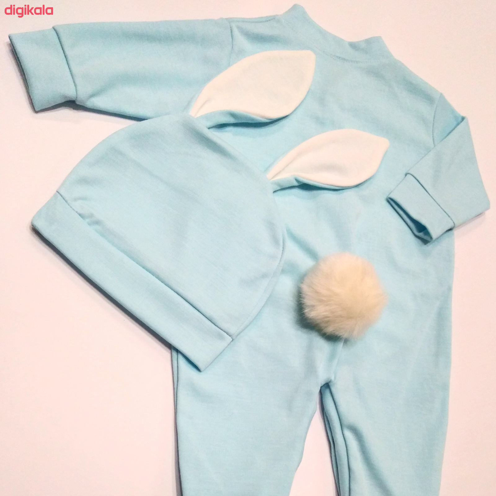 ست سرهمی و کلاه نوزادی پسرانه طرح خرگوش کد M210 main 1 2