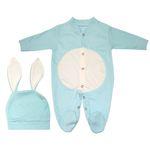 ست سرهمی و کلاه نوزادی پسرانه طرح خرگوش کد M210 thumb