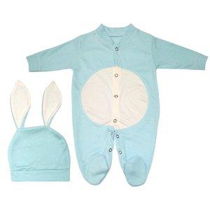 ست سرهمی و کلاه نوزادی پسرانه طرح خرگوش کد M210