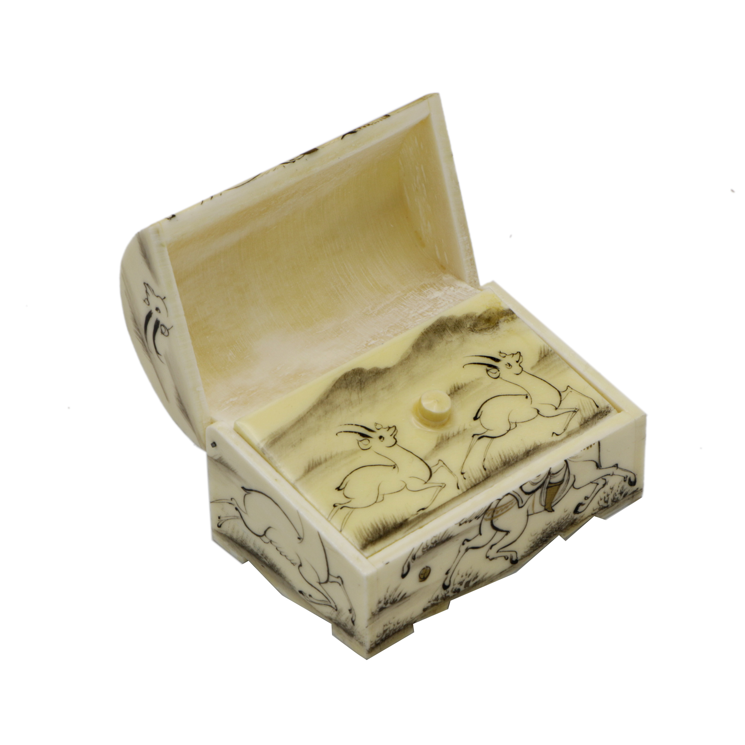 خرید                      جعبه جواهرات استخوانی طرح چوگان کد m8