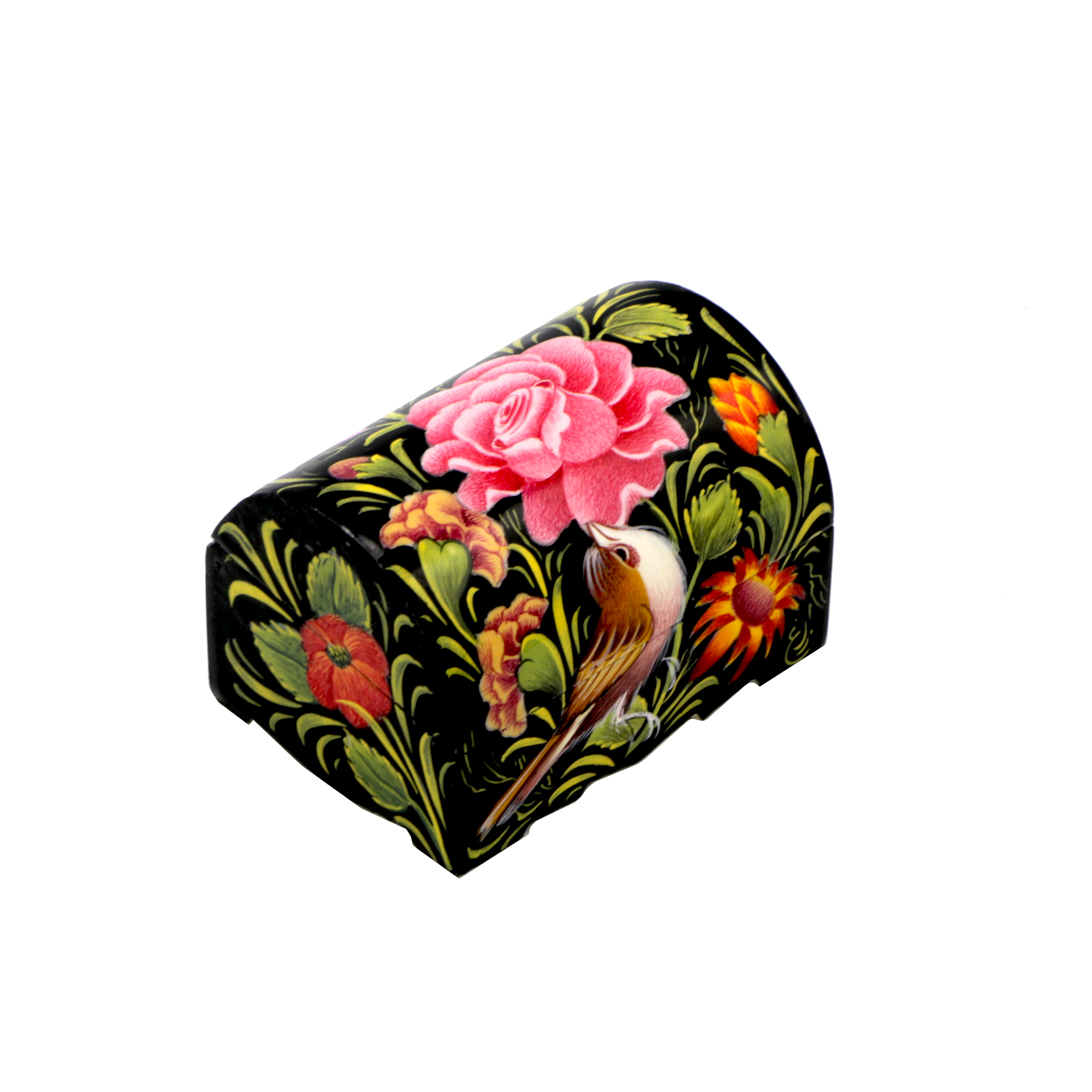 جعبه جواهرات استخوانی طرح گل و مرغ کد m12