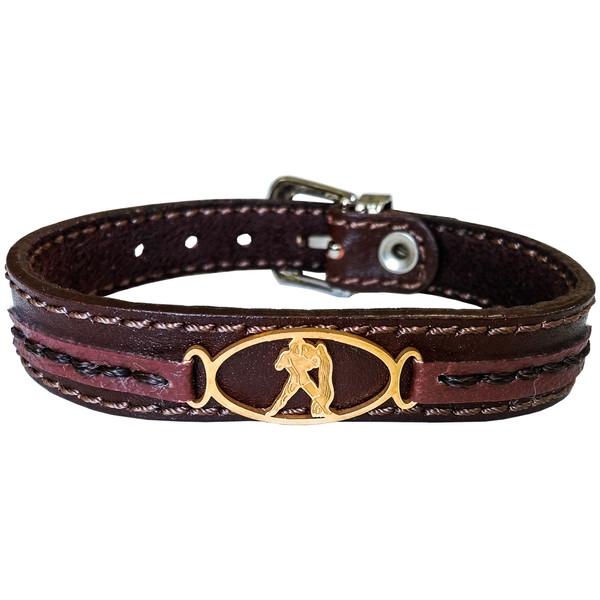 دستبند چرم وارک طرح نماد ماه بهمن مدل پرهام کد rb68