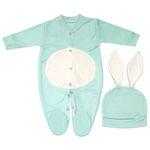 ست سرهمی و کلاه نوزاد طرح خرگوش کد M211