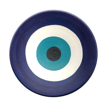 بشقاب دیوارکوب سفالی طرح چشم زخم کد 0011