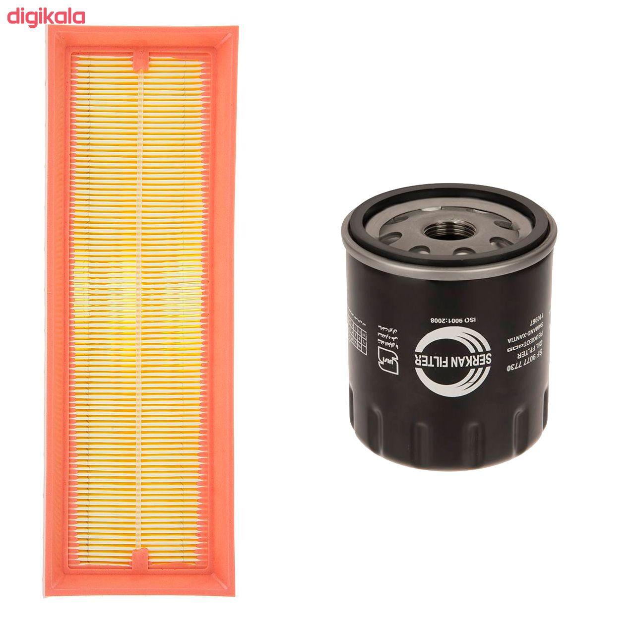 فیلتر روغن خودرو سرکان مدل SF7730 مناسب برای پژو405 به همراه فیلتر هوا سرکان  main 1 4