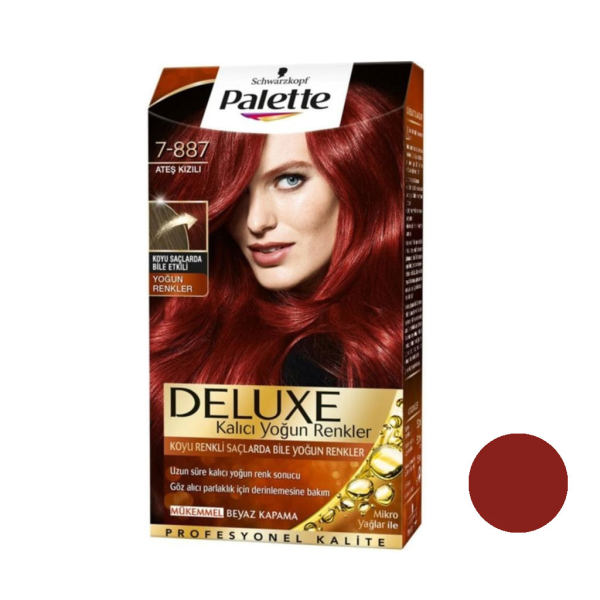 کیت رنگ مو پلت سری DELUXE شماره 887-7 حجم 50 میلی لیتر رنگ بلوند قرمز روشن