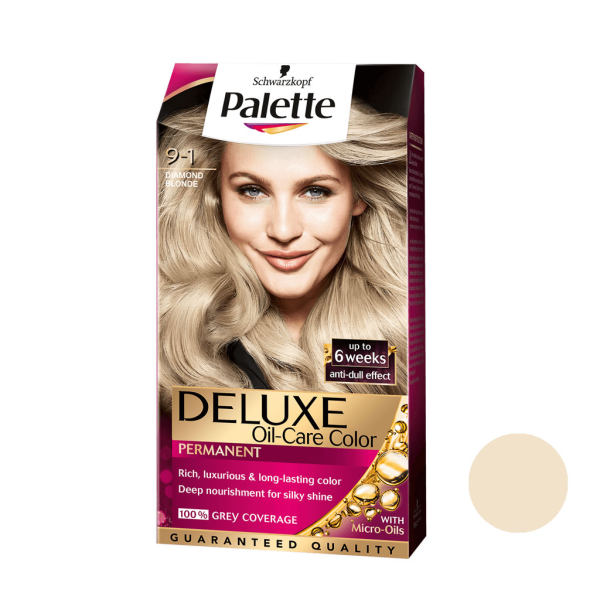 کیت رنگ مو پلت سری DELUXE شماره 1-9 حجم 50 میلی لیتر رنگ بلوند دودی روشن