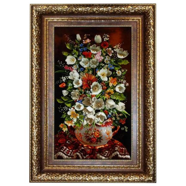تابلو فرش دستباف طرح گل و گلدان کد 981211