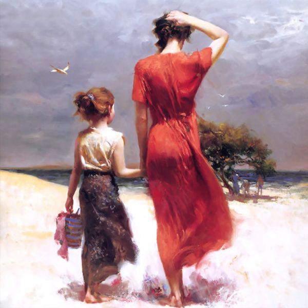 تابلو نقاشی رنگ روغن طرح مادر و دختر کد 080