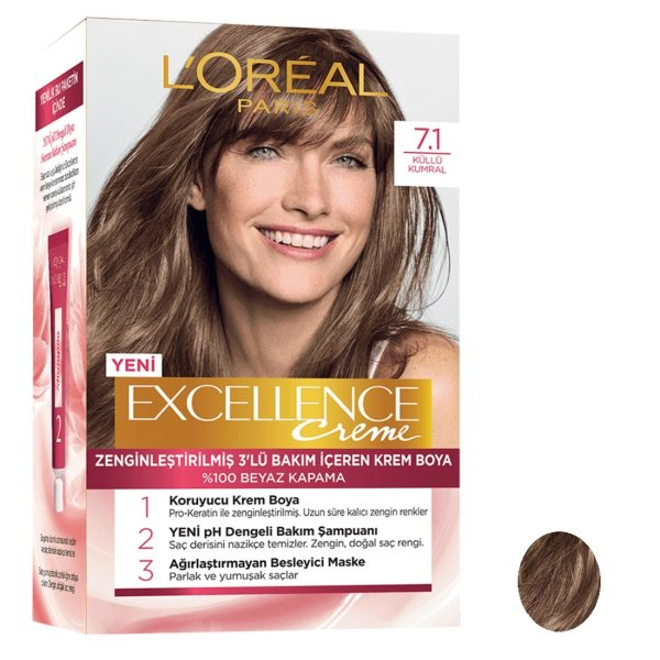 کیت رنگ مو لورآل مدل Excellence شماره 7.1 حجم 50 میلی لیتر بلوند دودی