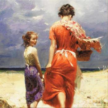 تابلو نقاشی رنگ روغن طرح مادر و دختر کد 081