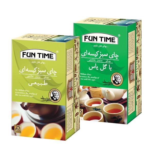 چای سبز کیسه ای طبیعی فان تایم بسته 25 عددی به همراه چای سبز کیسه ای با طعم یاس