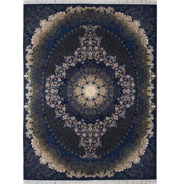فرش ماشینی احتشامیه طرح ترانه زمینه سرمه ای