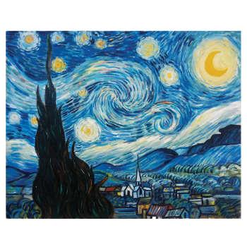 تابلو نقاشی طرح شب پر ستاره کد 1058