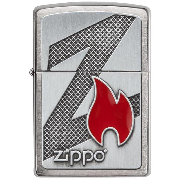 فندک زیپو مدل Z Flame Brushed Chrome کد 29104