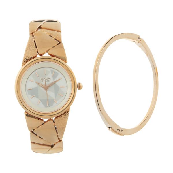 ست دستبند و ساعت مچی عقربه ای زنانه تایتن مدل T2583WM01
