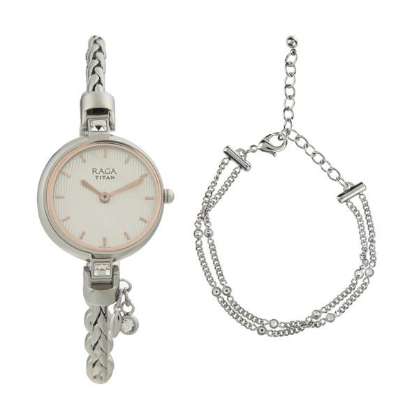 ست دستبند و ساعت مچی عقربه ای زنانه تایتن مدل T2584SM01