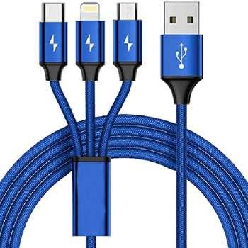 کابل تبدیل USB به microUSB / لایتنینگ / USB-C کد 110 طول 1 متر