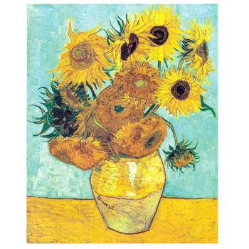 تابلو نقاشی رنگ روغن طرح گلهای آفتابگردان ونگوگ کد 1030