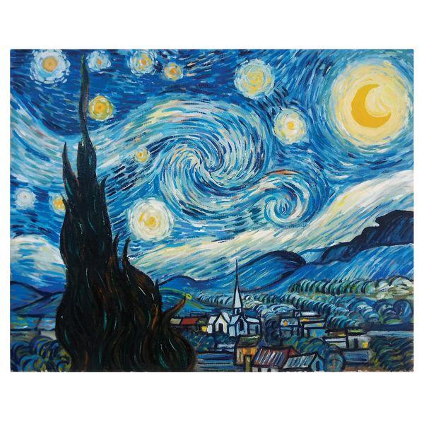 تابلو نقاشی رنگ روغن طرح شب پر ستاره ونگوگ کد 1058