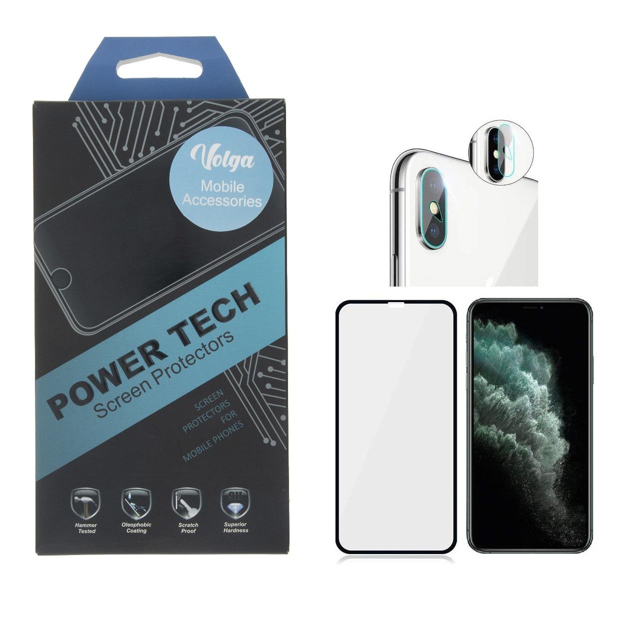 خرید اینترنتی محافظ صفحه نمایش ولگا مدل Powertech مناسب برای گوشی موبایل اپل Iphone X به همراه محافظ لنز دوربین اورجینال