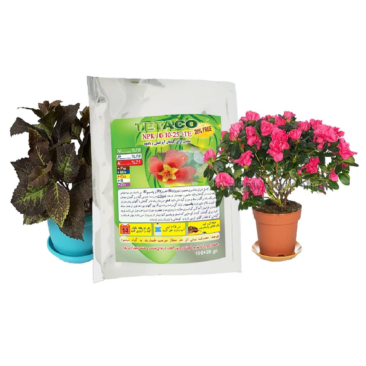 کود گیاهان آپارتمانی تتاکو مدل NPK 10-10-25 وزن 120 گرم بسته 10 عددی