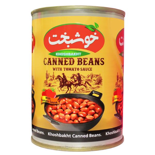 کنسرو لوبیا چیتی در سس گوجه فرنگی خوشبخت -380 گرم