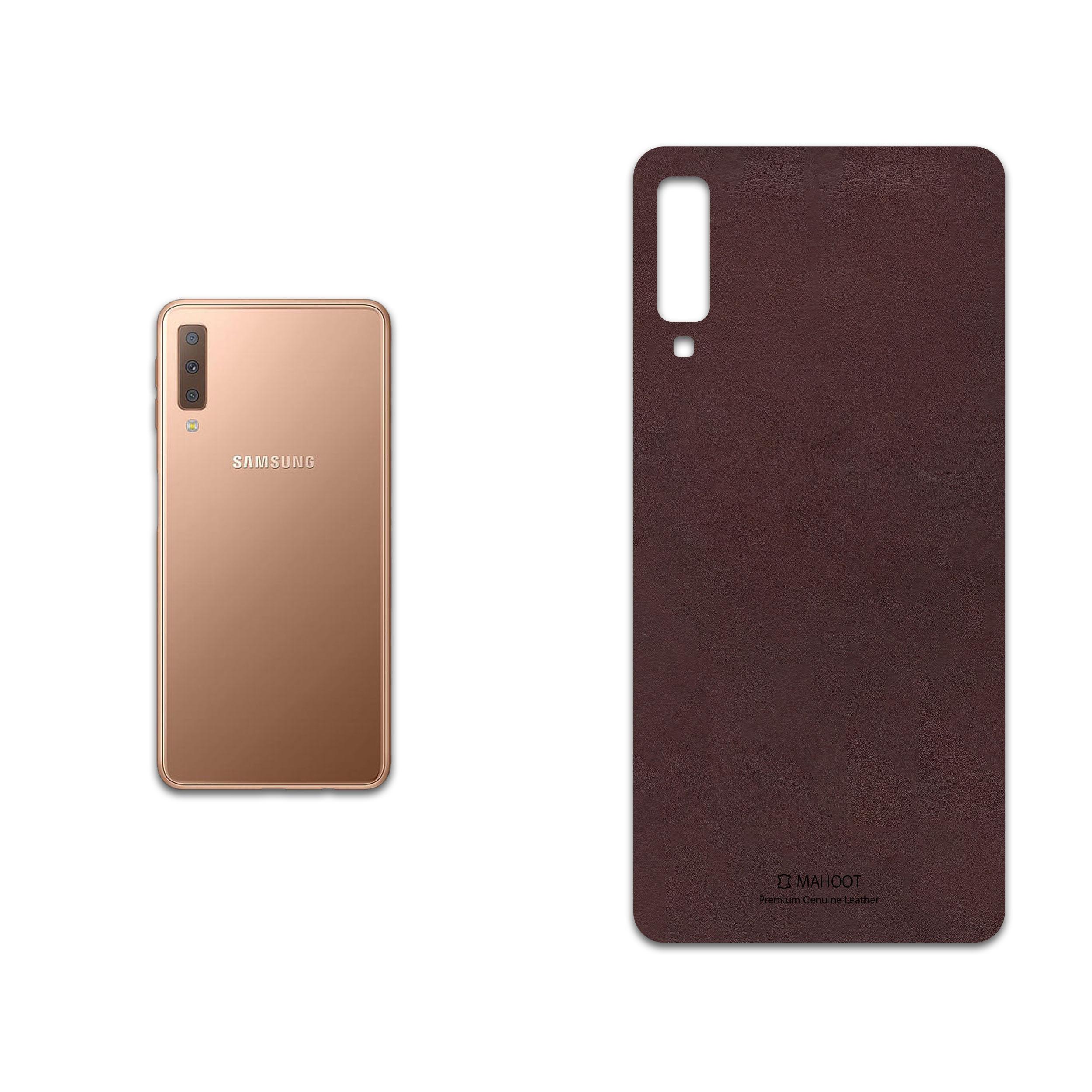 برچسب پوششی ماهوت مدل Matte-Dark-Brown-Leather مناسب برای گوشی موبایل سامسونگ Galaxy A7 2018
