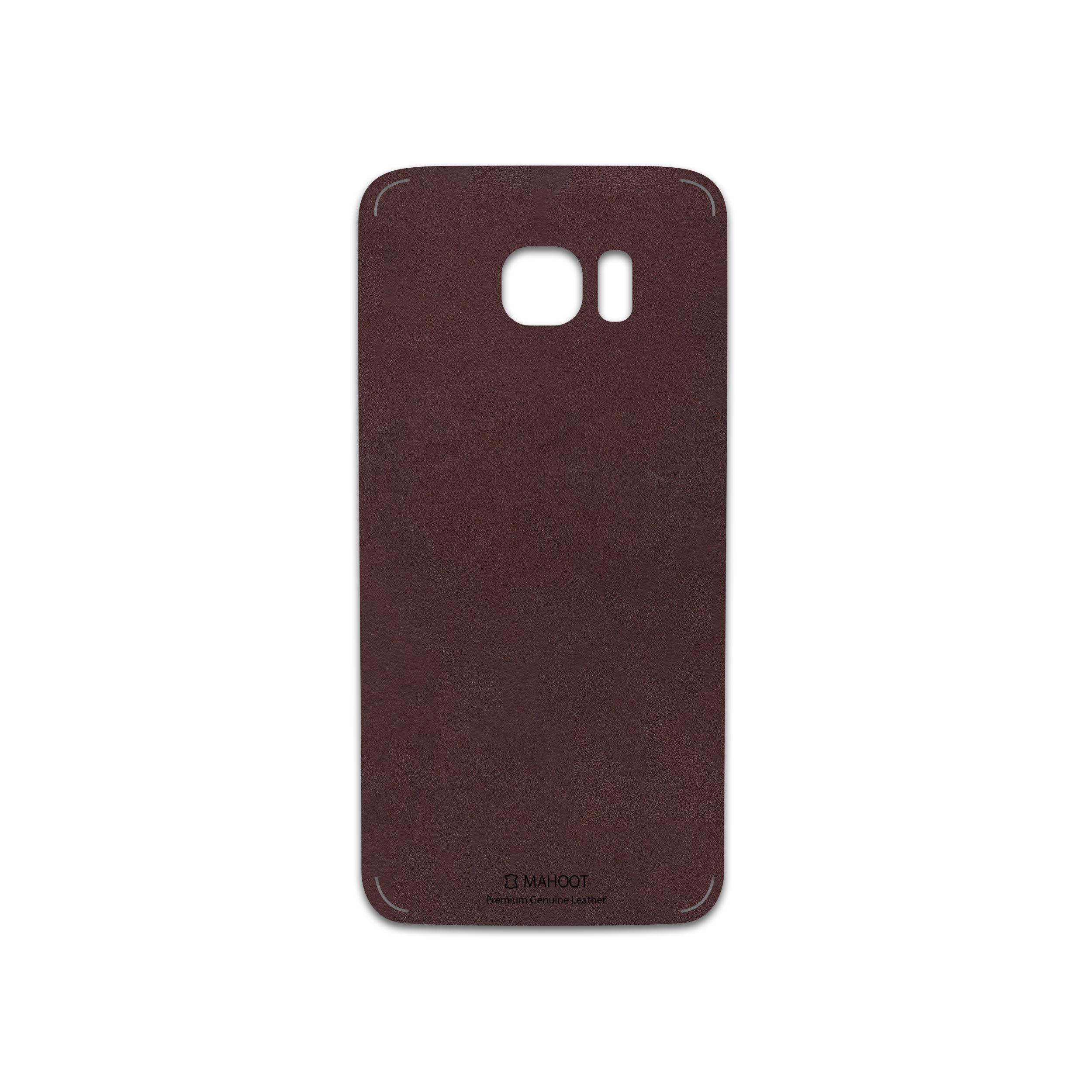 برچسب پوششی ماهوت مدل Matte-Dark-Brown-Leather مناسب برای گوشی موبایل سامسونگ Galaxy S7 Edge