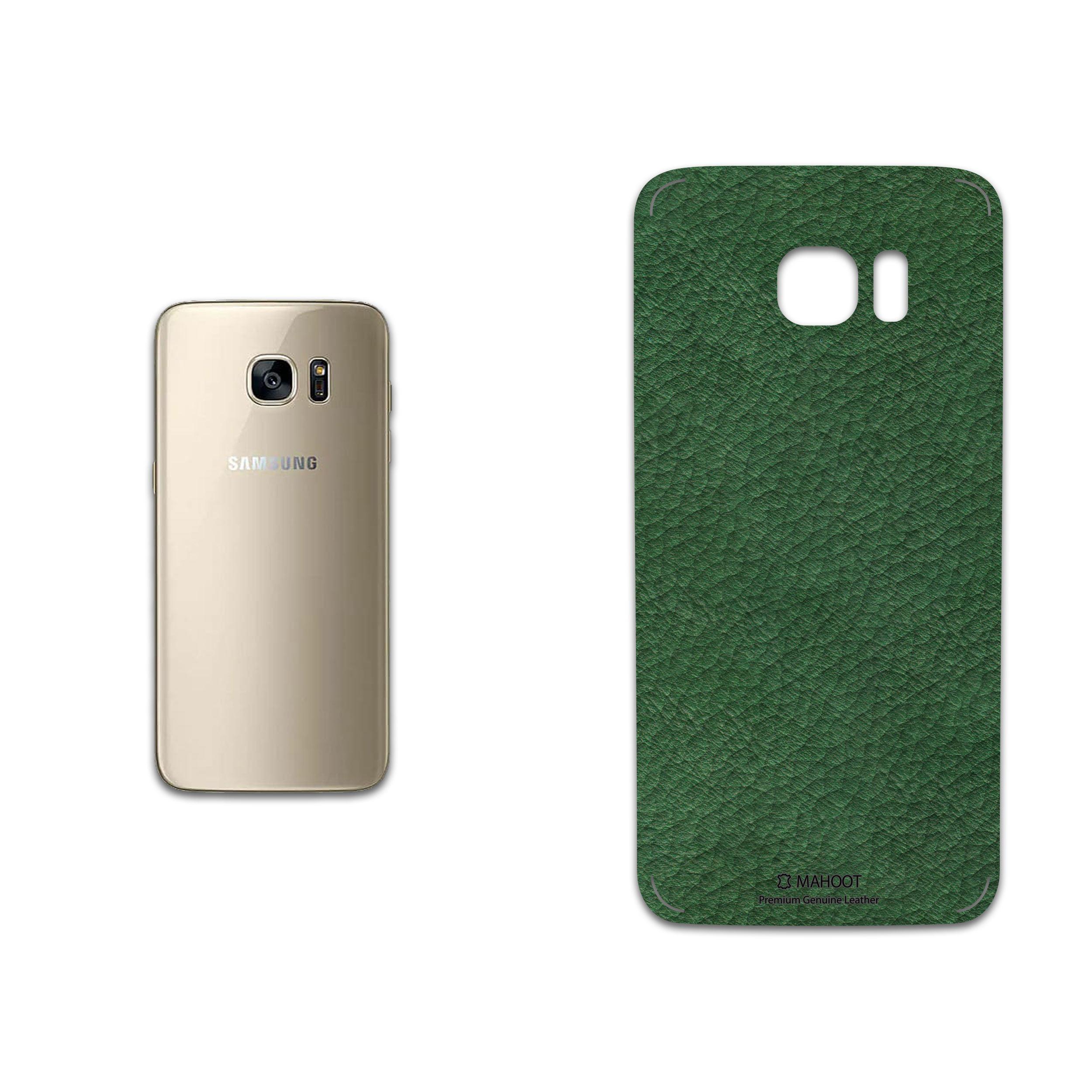 برچسب پوششی ماهوت مدل Green-Leather مناسب برای گوشی موبایل سامسونگ Galaxy S7 Edge