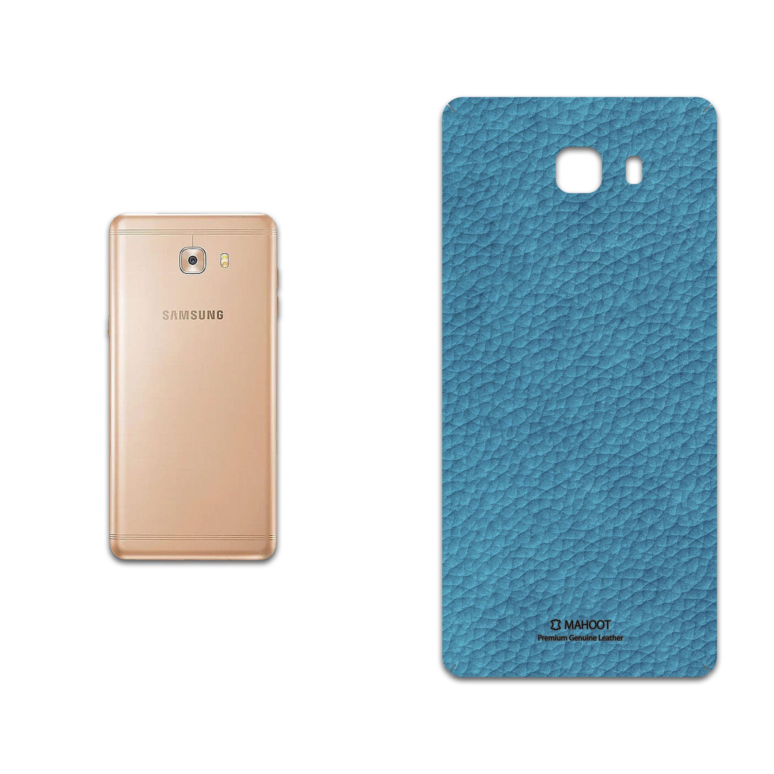برچسب پوششی ماهوت مدل Blue-Leather مناسب برای گوشی موبایل سامسونگ Galaxy C9 Pro