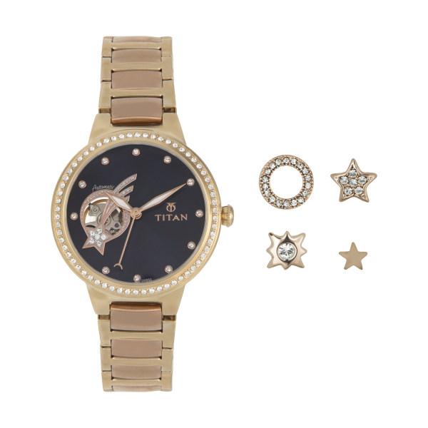ست گوشواره و ساعت مچی عقربه ای زنانه تایتن مدل T95084KM01