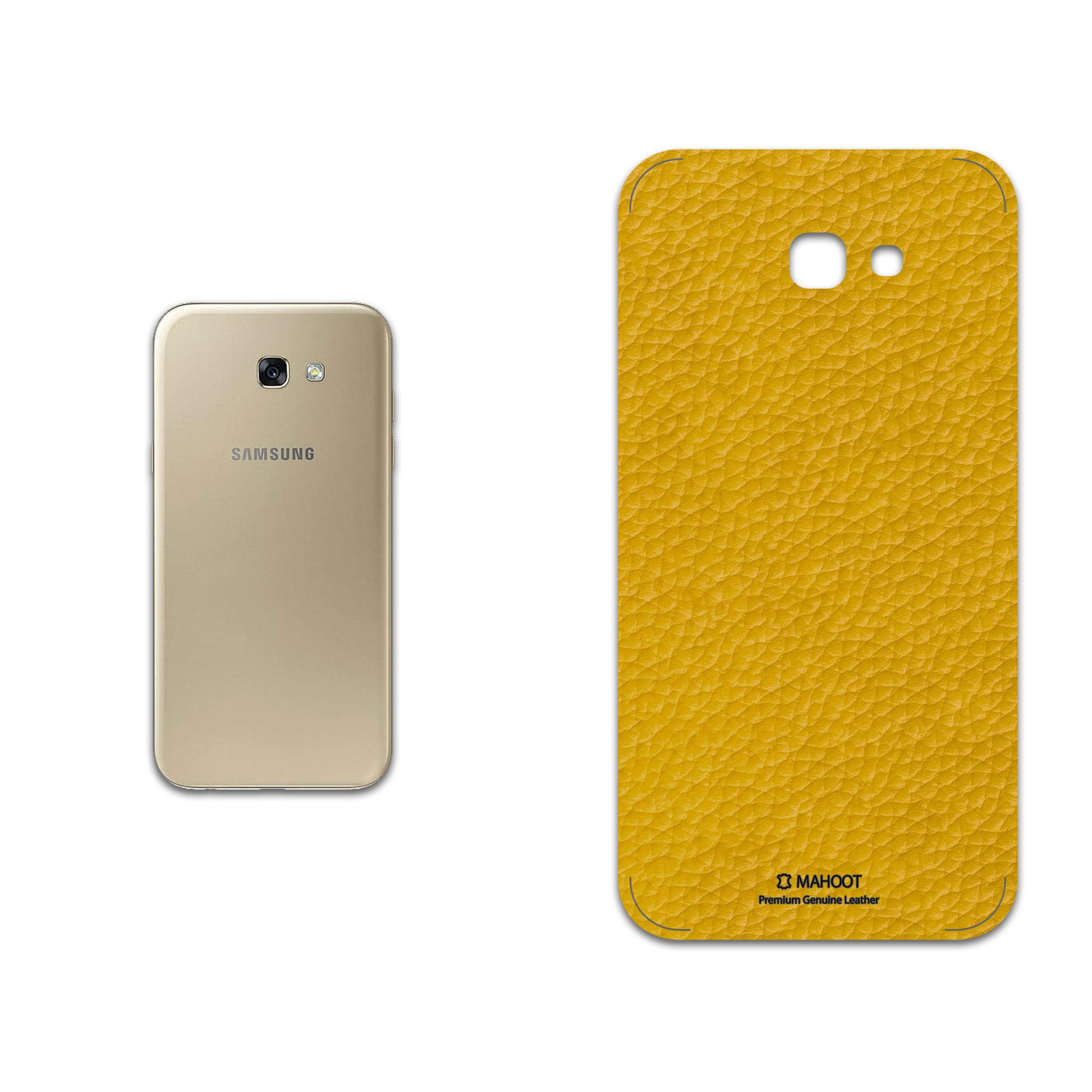 برچسب پوششی ماهوت مدل Mustard-Leather مناسب برای گوشی موبایل سامسونگ Galaxy A7 2017