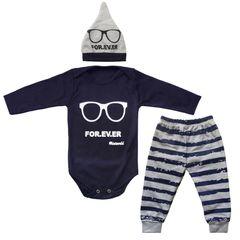 ست 3 تکه لباس نوزاد طرح عینک کد 01