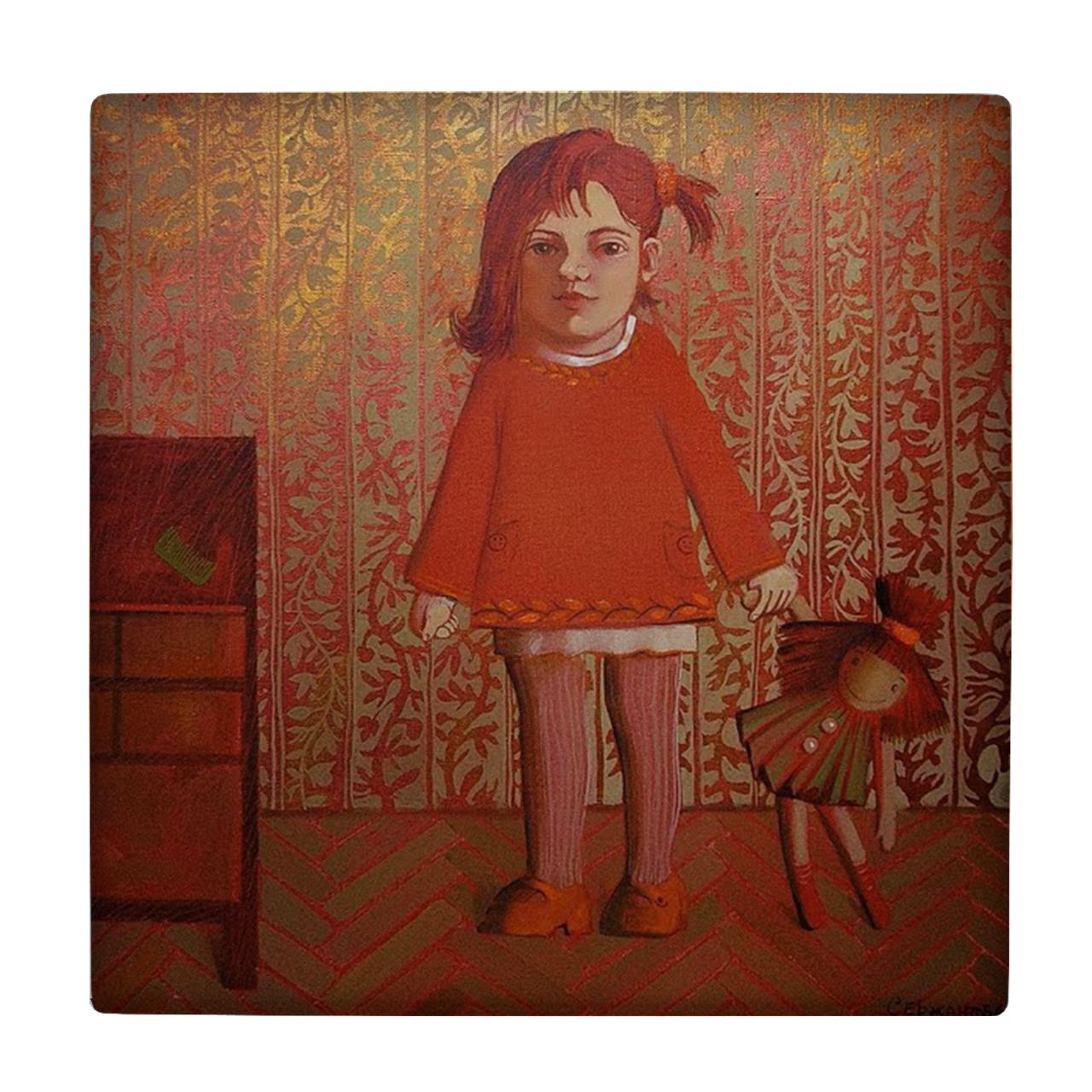 خرید                      کاشی طرح دختر و عروسک کد wk210