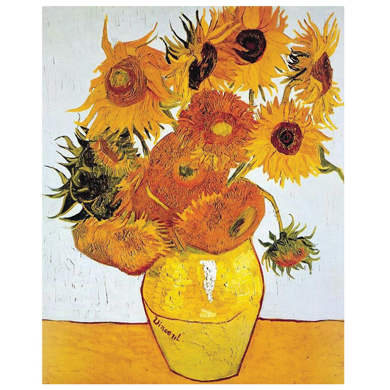تابلو نقاشی طرح گل های آفتابگردان ونگوگ کد 1023