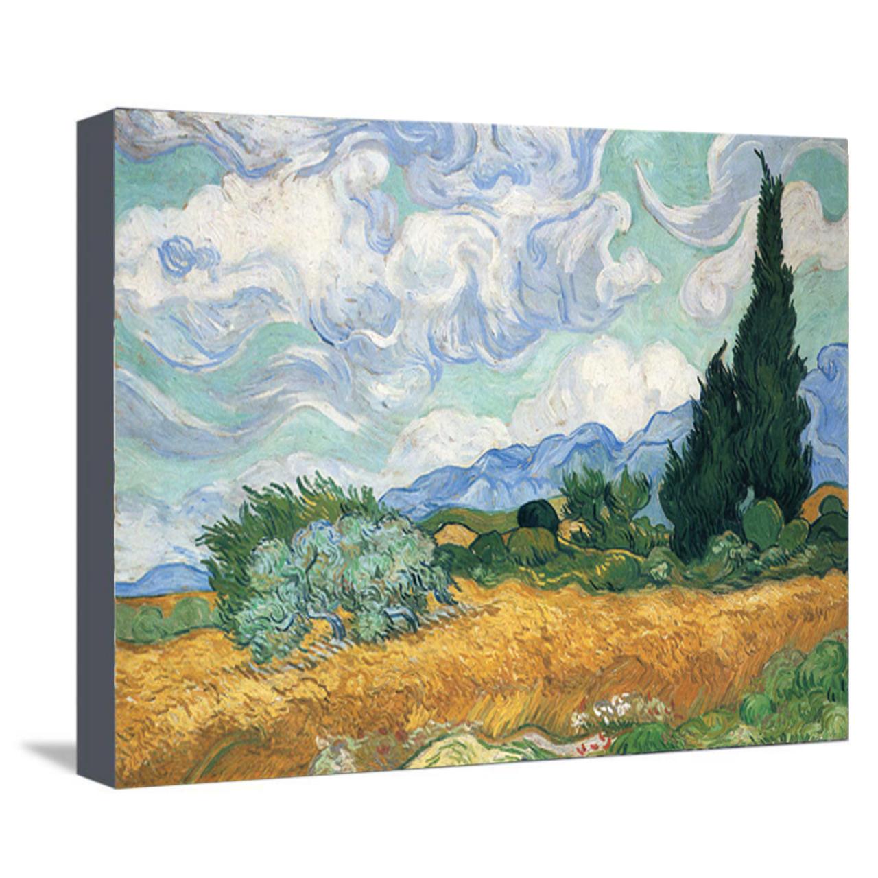 خرید                      تابلو نقاشی طرح گندمزار با درخت سرو ونگوگ کد 1019