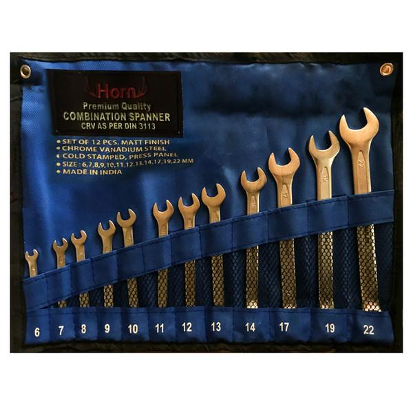 مجموعه 12 عددی آچار یک سرتخت یک سر رینگی هورن کد HN 6-22M