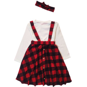 ست 3 تکه لباس دخترانه مدل چهارخانهکد 336003