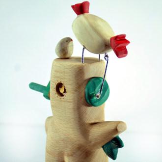 مجسمه چوبی مدل جوجه عاشق