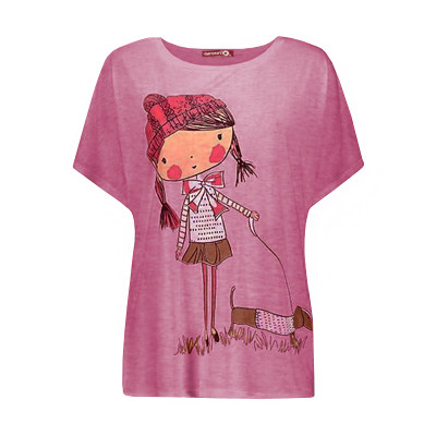 Photo of تی شرت زنانه افراتین طرح دختر و سگ کد 3526 رنگ صورتی