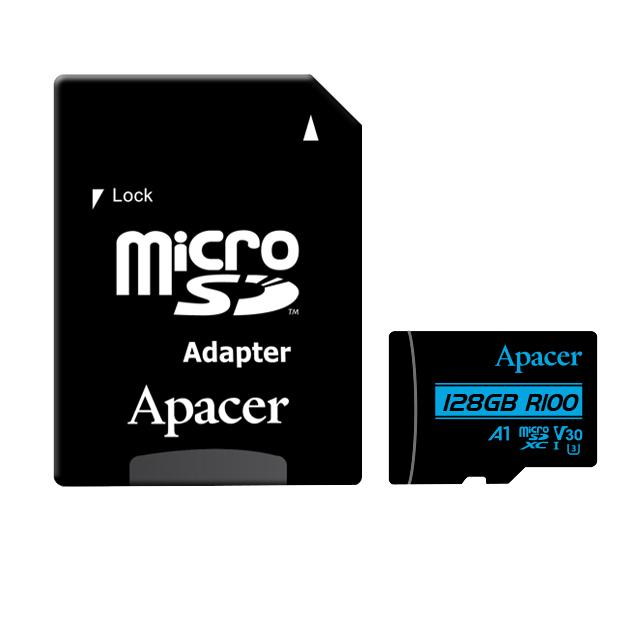 کارت حافظه microSDXC اپیسر مدل V30 A1 کلاس 10 استاندارد UHS-I U3 سرعت 100MBps ظرفیت128گیگابایت به همراه آداپتور SD