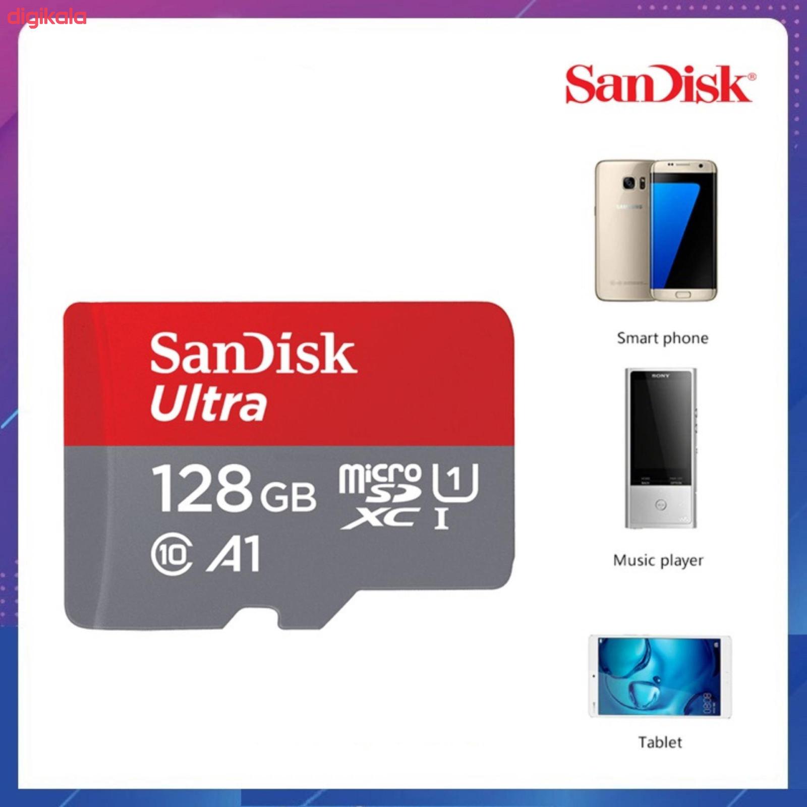 کارت حافظه microSDXC سن دیسک مدل Ultra A1 کلاس 10 استاندارد UHS-I U1  سرعت 100MBps ظرفیت 128 گیگابایت  main 1 5
